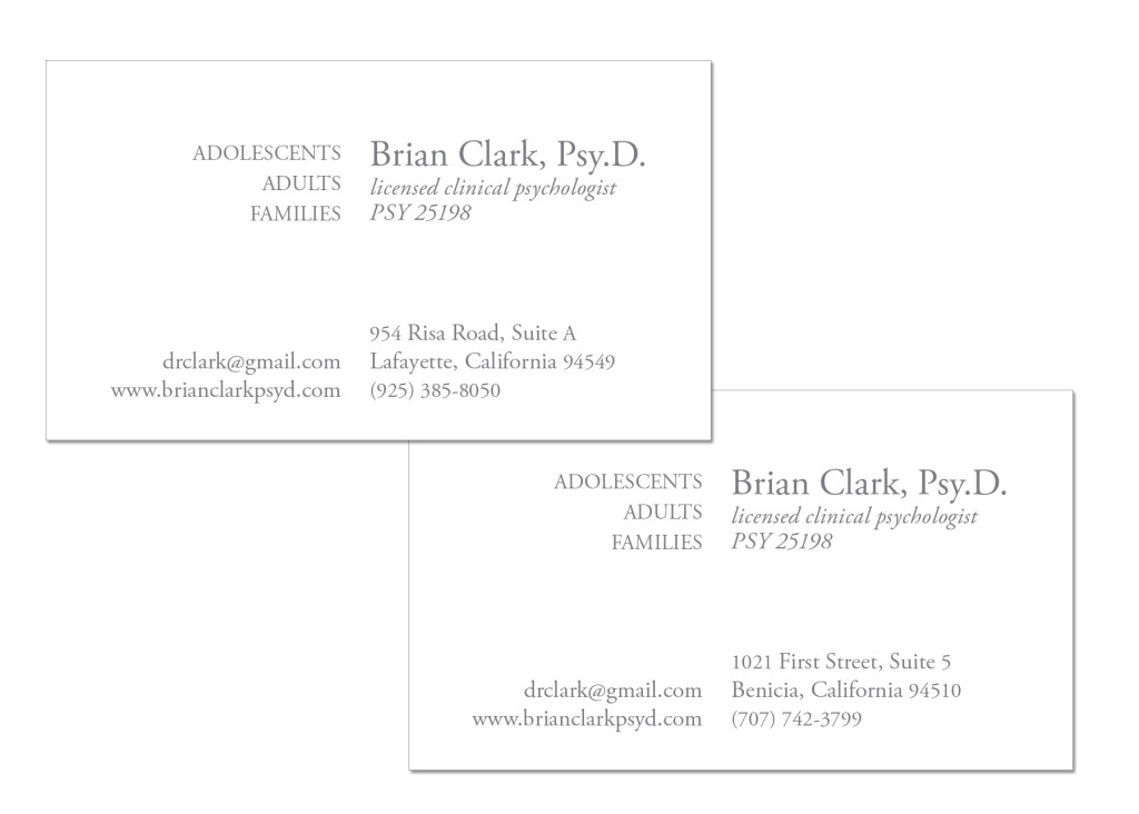 Brian Clark, PsyD - Business Cards