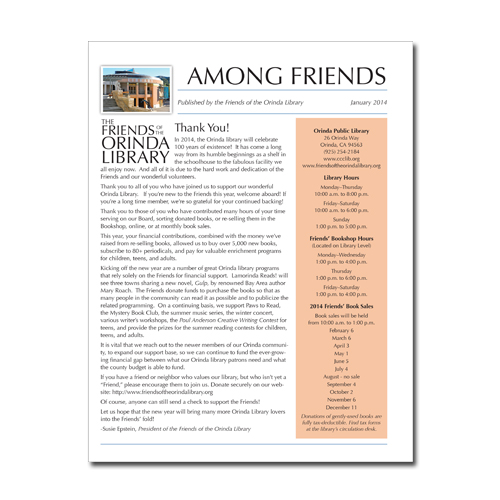 Friends of the Orinda Library - Newsletter