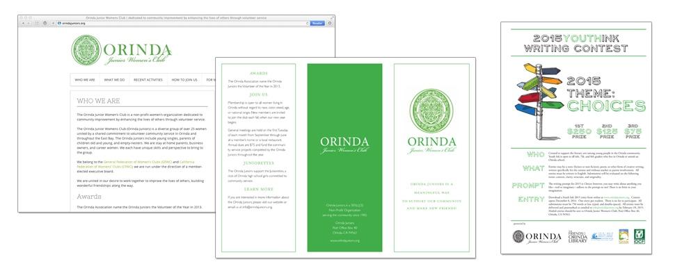 Orinda Junior Women's Club Website, Flyer, Poster