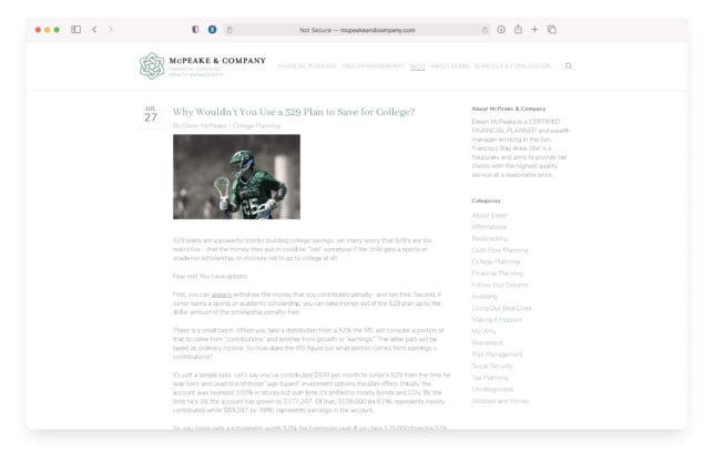 Mc Peake & Company Website Blog