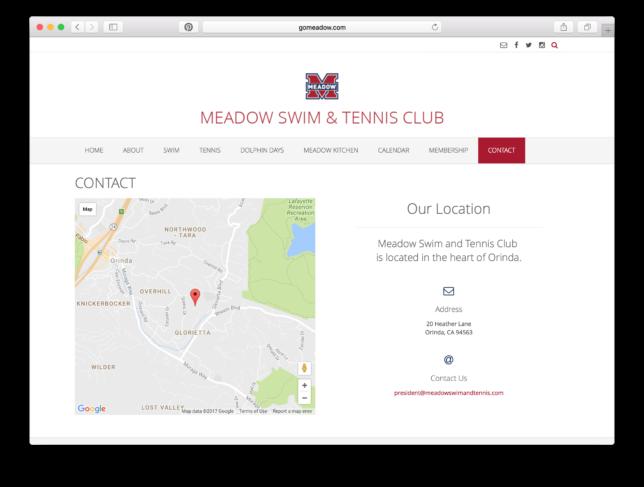 Meadow Swim & Tennis Club - Website / Map