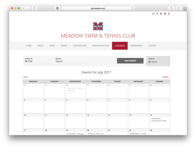 Meadow Swim & Tennis Club - Website / Calendar of Events