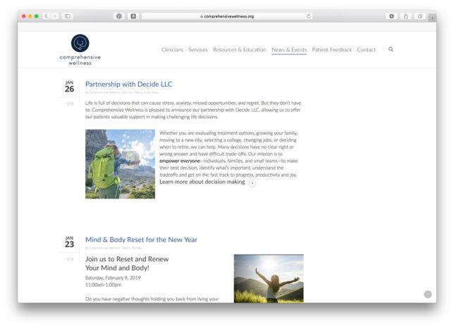 Comprehensive Wellness - Website / Blog / News & Events