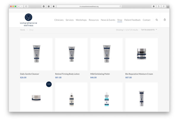 Comprehensive Wellness - Online Store, home page