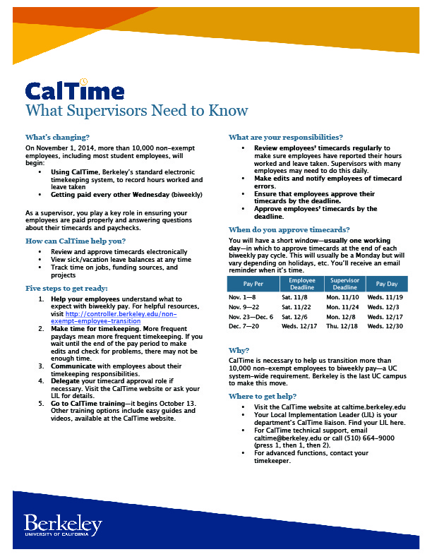 UC Berkeley - CalTime Informational Flyer