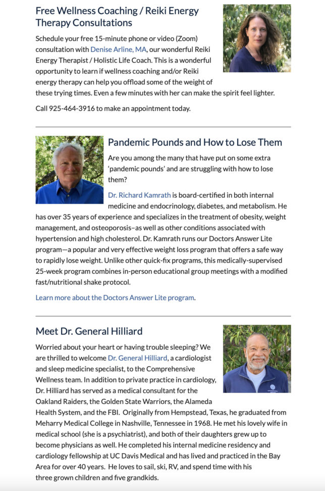 Comprehensive Wellness - Online Newsletter