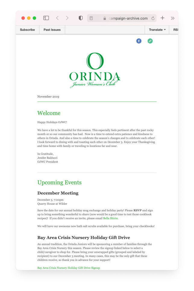 Orinda Junior Women's Club Newsletter