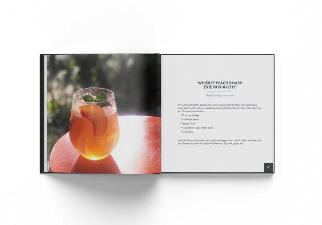 #quarantinis book spread - whisky peach smash